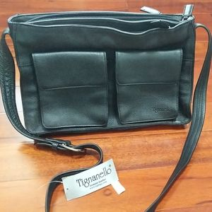 Tignanello Black Leather Crossbody Shoulder Bag